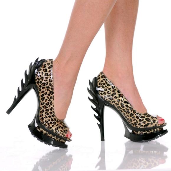 BNIB Flame Leopard Print Peep Toe Pumps
